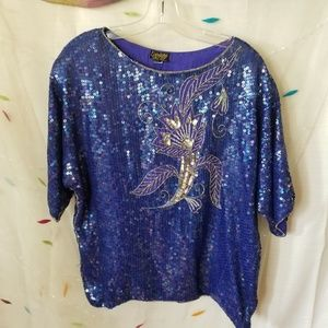Vintage Linsiano Sequined Top Silk Super Blue!